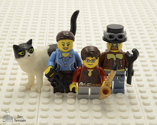 Portrait of Toy Terrain as minifigures with toy cat for About Toy Terrain page