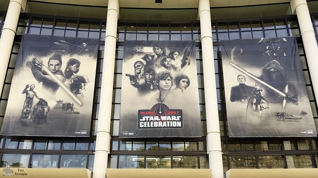 Star Wars Celebration 2017 banners hang over the convention center in Orlando, Florida
