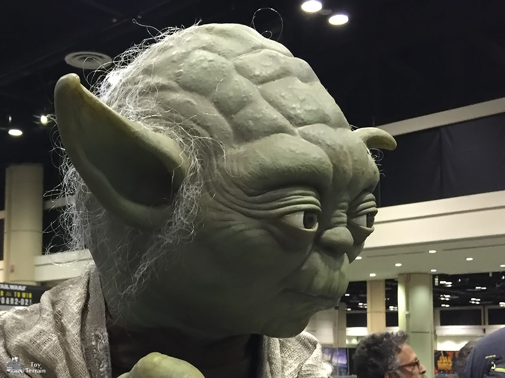 Close up of Yoda's head at Star Wars Celebration 2017 Orlando